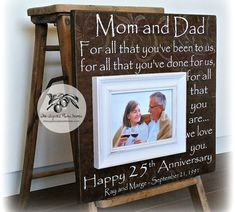 Anniversary Gifts for Parents, Silver Anniversary Gift, Wedding Anniversary Gift, Anniversary Keepsake Frame Celebrate the day your parents made a covenant with a special keepsake from Sugared Plums Frames. Our photo f Mom Dad Anniversary, 25 Wedding Anniversary Gifts, Marriage Anniversary, Anniversary Ideas For Parents, Anniversary Surprise, Anniversary Pictures, Gift Wedding, Wedding Signs, Wedding Gifts For Parents