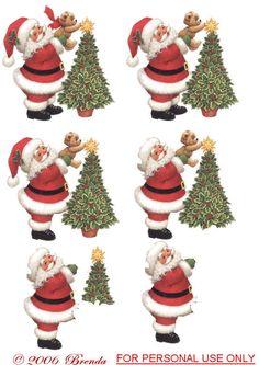 Santa helps teddy put the star on the tree decoupage Christmas Sheets, Christmas Clipart, Christmas Wood, Christmas Printables, All Things Christmas, Christmas Crafts, Decoupage Printables, Christmas Decoupage, 3d Sheets