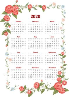 Floral 2020 Monthly Calendar January February March April May June July August September October November December Templates Yearly Planner Printable Free Cute Print Calendar, Kids Calendar, Calendar 2020, Calendar Design, Calendar Wallpaper, Yearly Calendar Template, Printable Calendars, Creative Calendar, Holiday Planner