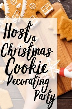 Everything you need to throw a successful and FUN Christmas Cookie Decorating Party! Your family and friends will love this! Best Christmas Cookies, Holiday Cookies, Christmas Desserts, Christmas Themes, Flood Icing, Cookie Decorating Party, Chocolate Sugar Cookies, Icing Tips, Piping Icing