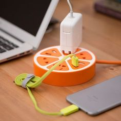 The lemon slice looks like too big to fit in your mug, but using integrated USB ports and outlets, the cute fruit power strip supply enough power to your applia Handy Gadgets, Gadgets And Gizmos, Tech Gadgets, Iphone Charger, Iphone 10, Iphone Cases, Portable Charger For Iphone, Power Trip, Accessoires Ipad