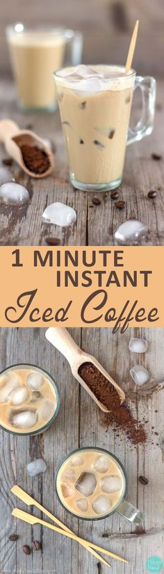 This 1-Minute Instant Iced Coffee is the best way to enjoy a cup of coffee in summer. If you haven't tried it yet here is your chance. Easy and efreshing drink recipe via @happyfoodstube