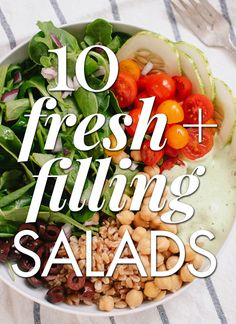 Find 10 fresh and filling salad recipes - don't forget to add a tablespoon or two of Udo's 3 6 9 Oil Blend