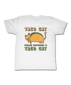 Look at this #zulilyfind! White 'Taco Cat' Tee - Men & Tall #zulilyfinds