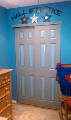 "Twin's Superhero Bedroom, Boys' Rooms But say "" the bat cave "" Superhero Boys Room, Batman Room, Kids Bedroom, Bedroom Decor, Bedroom Ideas, Avengers Room, Room Closet, Closet Doors, Room Themes"