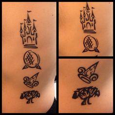 Walt Disney World park logos tattoo! Magic Kingdom, Epcot, Hollywood Studios, and Animal Kingdom.