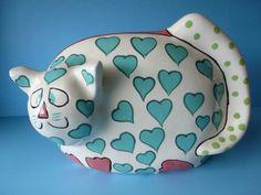 Pati Ganz Cat Piggy Bank Hand Painted Green Hearts Very Cute | eBay