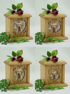 Wood Pet Urns Heart, Oval & Pawprint Photo Pet Urn - $75