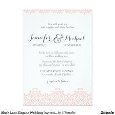 Blush Lace Elegant Wedding Invitation
