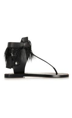 Isabel Marant Jadyn Feather-Trimmed Leather Sandals - Isabel Marant