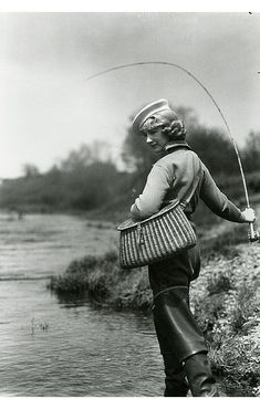 Doris MacLaughlin sportfishing, ca. 1937. #vintage #Canada #fishing #outdoors #1930s