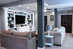 Finished Basement Ideas - Before  After - Built in Entertainment Center