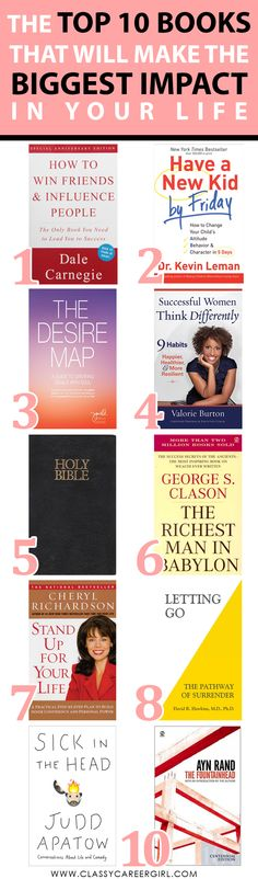 The Top 10 Books That Will Make the Biggest Impact in Your Life  What book made the biggest impact on your life?  http://www.classycareergirl.com/2016/05/books-impact-life/