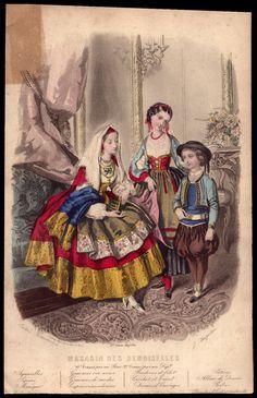 1860s French Print Plate Victorian High Fashion Fancy Dress Ball Carnival Child | eBay
