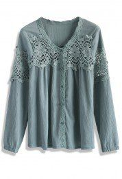 Revels Crochet Cutout Top in Teal
