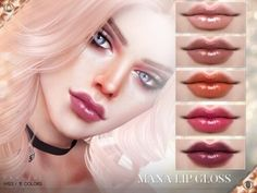 Mana Lip Gloss N123 by Praline Sims for The Sims 4