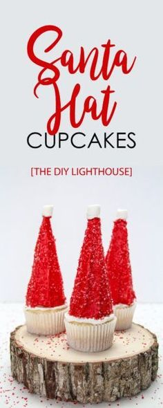 Santa Hat Cupcakes Recipe | How to make cute and easy DIY santa hat cupcakes | video and directions available | ice cream cone santa hat | All I want for Christmas are these Santa hat cupcakes! They satisfy the inner child with whimsical fun, and they satisfy the sweet tooth that always seems to intensify during this time of the year. Have a holly, jolly Christmas with this quick, easy, and fun holiday treat!- The DIY Lighthouse