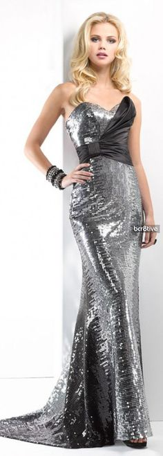 Black & Silver Sequin Prom Dress