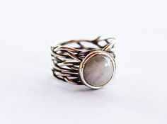 Braided silver ring with pink chalcedonySolid Silver braided