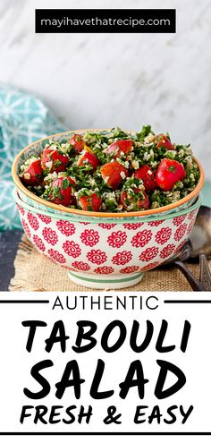 In the mood for something light, refreshing and utterly delicious? This Authentic Tabouli Salad is just what you need. Be sure to check it out. Salad Recipes Gluten Free, Great Salad Recipes, Vegetarian Recipes, Kosher Recipes, Spicy Recipes, Low Carb Lunch, Fruit In Season, Easy Salads, Side Salad