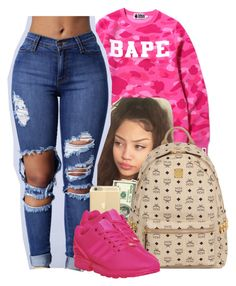 A fashion look from June 2016 featuring a bathing ape shirt, blue jeans and sports trainer. Browse and shop related looks. Lit Outfits, Jordan Outfits, Cute Casual Outfits, Teen Fashion Outfits, Dope Outfits, Fall Outfits, School Outfits, Jordan Shoes, Outfit Goals
