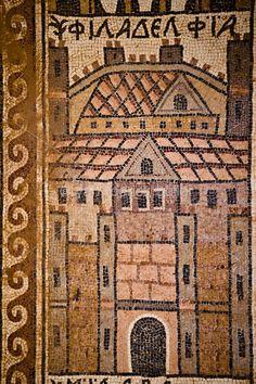 www.ryanrodrickbeiler.com / Detail from mosaic floor of the 8th Century Church of St. Stephen at Umm al-Rasas, Jordan, depicting the ancient city of Philadelphia (now Amman).