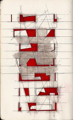 Senior Year 2012 sketchbook. Doodling. Drawn with pencil, layered with fine tip sharpie and red marker.