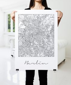 BERLIN Map Print Modern City Poster Black and White by PFposters