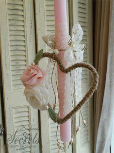 Λαμπάδα πασχαλινή στεφανάκι καρδιά