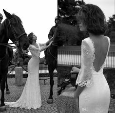 Liz Martinez Wedding Dresses 2016 Vintage Western Style Bridal Gowns Deep V Neck Empire Waist Sweep Train Sexy Backless Lace Wedding Dresses, $172.78 from sunnybridalone on m.dhgate.com | DHgate Mobile