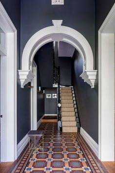 Barcom terrace: a heritage architecture with contemporary interior and deco Dark Hallway, Tiled Hallway, Hallway Flooring, Entry Hallway, Entrance Hall, Flooring Tiles, Hallway Paint Colors, Best Paint Colors, Paint Colours