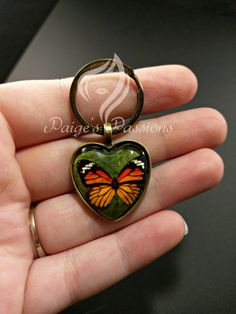 Monarch Butterfly Heart Keychain or Necklace by PaigesPassion Monarch Butterfly, Beautiful Butterflies, Trending Outfits, Heart, Unique Jewelry, Handmade Gifts, Accessories, Vintage, Etsy