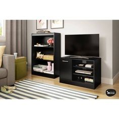 South Shore Smart Basics TV Stand with Storage for TVs up to 42 inch, Multiple Finishes, Black