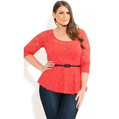 Plus Size Lace Dancer Top image Big And Tall Outfits, Plus Size Outfits, Lace Peplum, Lace Jacket, Mens Big And Tall, City Chic, Stretch Lace, Lace Tops, Plus Size Women