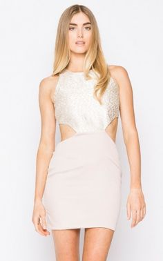 Naven CHAMPAGNE SPARKLE CUTOUT DRESS  Ebay seller: matteandgloss  This flirty take on one of Naven's classic cutout dresses combines metallic lure...