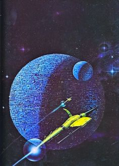 "Painting by Angus McKie from ""Terran Trade Authority Handbook: Spacecraft 2000 to 2100 AD"" by Stewart Crowley, 1978."