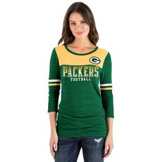 Women s New Era Green Bay Packers Varsity Tee  Green b0f07642dd