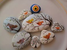 stone art by Grace Palos Stone Crafts, Rock Crafts, Crafts To Make, Arts And Crafts, Pebble Painting, Pebble Art, Stone Painting, Rock Painting, Craft Projects