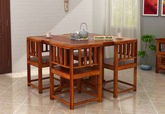Buy Cohoon 4 Seater Dining Set (Honey Finish) Online in India - Wooden Street Four Seater Dining Table, Simple Dining Table, Dining Chair Set, Dining Room Chairs, Wooden Dining Table Designs, Wooden Dining Tables, Dining Room Design, Home Office Furniture Desk, House Furniture Design