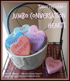 DIY Jumbo Faux Candy Conversation Hearts DIY Jumbo Faux Candy Conversation Hearts Ginger Ballard gingerballard Valentines Day Everyone loves those little candy conversation hearts you can nbsp hellip day messages Candy Decorations, Heart Decorations, Valentines Day Decorations, Valentine Day Crafts, Holiday Crafts, Valentine Ideas, Printable Valentine, Homemade Valentines, Holiday Fun