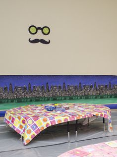 Classified Crafts room decoration -- mustache face; city scene setter, fun tablecloth