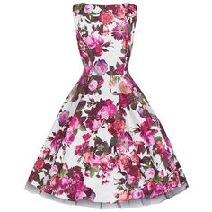 Cream White and Pink Floral Audrey 50s Swing Dress ($67) ❤ liked on Polyvore featuring dresses, white day dress, white swing dress, trapeze dress, cream dress and tent dresses