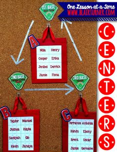 One Lesson at a Time: Centers: Grouping Strategies Organization And Management, Classroom Organization, Classroom Management, Sports Theme Classroom, Classroom Ideas, Activity Centers, Math Centers, Easy Bulletin Boards, 1st Year Teachers