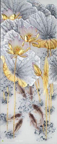 Resultado de imagen de ʦÐÖ£¬ºÃÏñÔÚÄÄÒ Japanese Painting, Japanese Art, Gold Leaf Art, China Painting, Chinese Art, Asian Art, Painting Inspiration, Flower Art, Lotus Flower