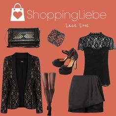 """Heute tragen wir edle Spitze und viel Schwarz. Unser Samstag-Abend Outfit """"Lace Love""""  Shirt: http://shoppingliebe.de/goto/F9mDXDLXdw Rock: http://shoppingliebe.de/goto/bKwayQsRb6 Blazer: http://shoppingliebe.de/goto/y33pNZTJw6 Tasche: http://shoppingliebe.de/goto/Bjg7GsZPtD Schuhe: http://shoppingliebe.de/goto/9rPYu99Ewi Armband: http://shoppingliebe.de/goto/Rf0OSftTBl Strumpfhose: http://shoppingliebe.de/goto/4wwDVe2x7q"""