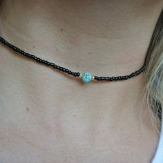 simple black gold blue turquoise beaded choker necklace