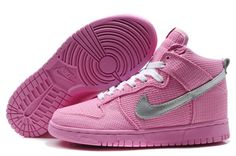 brand new 0da56 32a20 Top Fashion Nike Dunk SB High Top Sneakers For Women Pink Silver Shoe Sale  Online Shoe