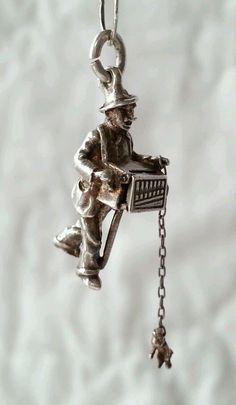 Vintage Sterling 3D Organ Grinder Monkey Mechanical Charm VERY RARE!