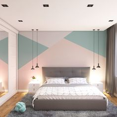 Ideas for bedroom wall designs - creative ideas ideas ideas diy para decorar cuartos Bedroom Wall Designs, Bedroom Wall Colors, Room Ideas Bedroom, Home Decor Bedroom, Kids Bedroom Paint, Bedroom Styles, Girl Bedroom Walls, Master Bedroom, Bedroom Wall Paints