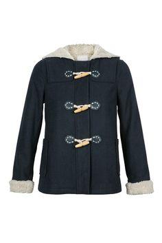 Duffle coat court fourré avec capuche